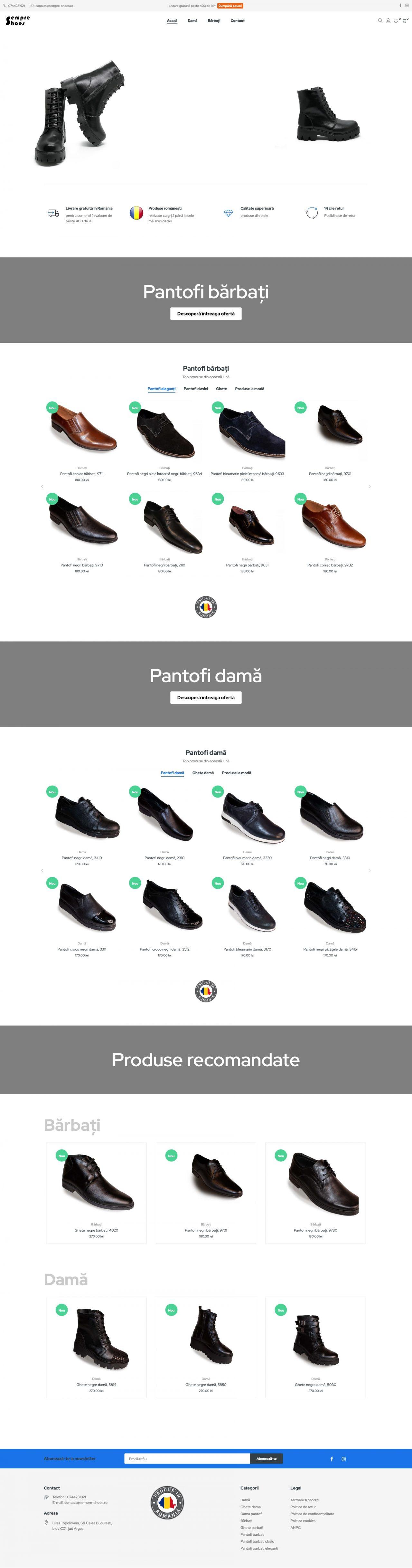 magazin online de pantofi pagina acasa