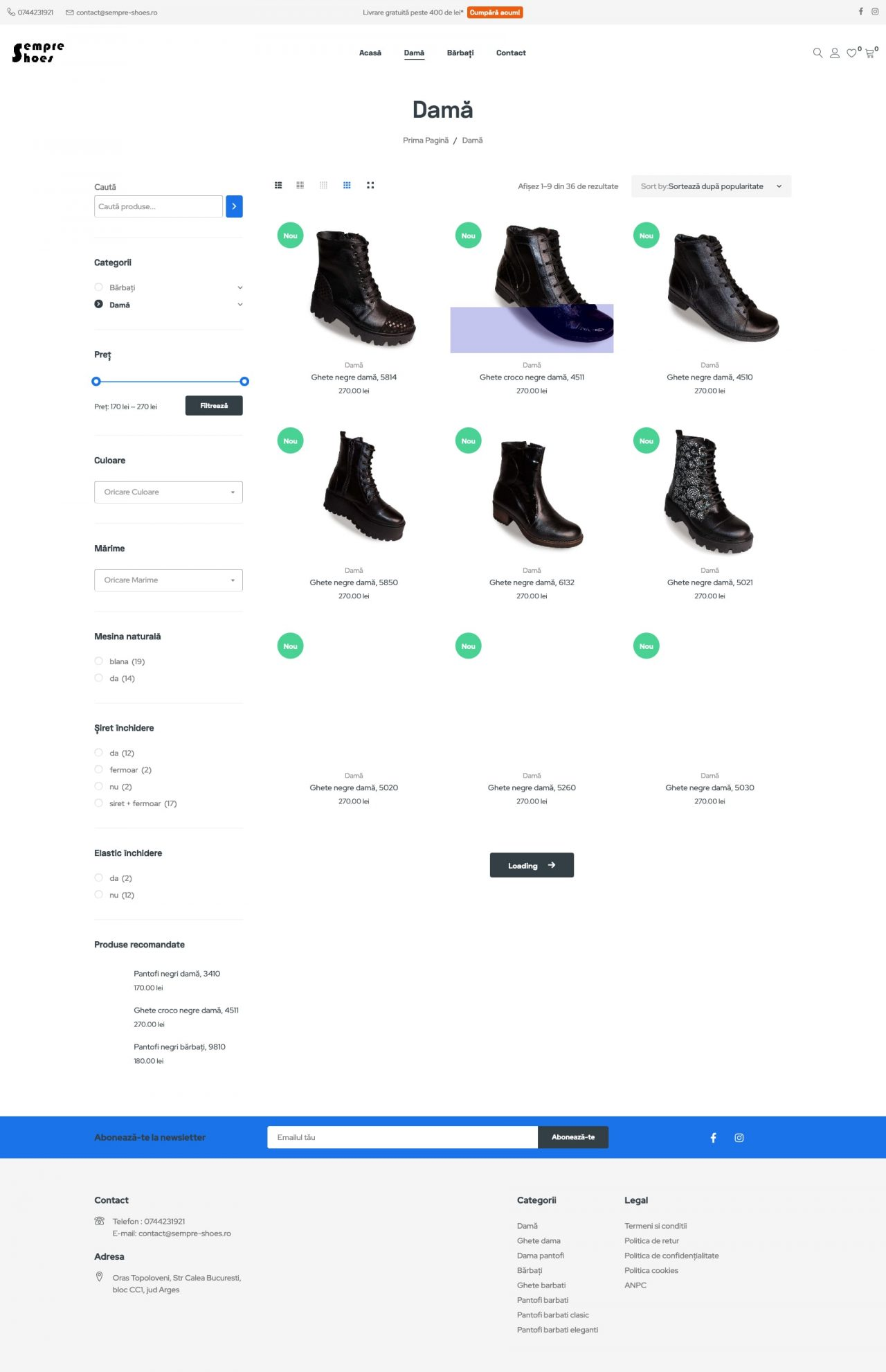 magazin online de pantofi pagina categorie