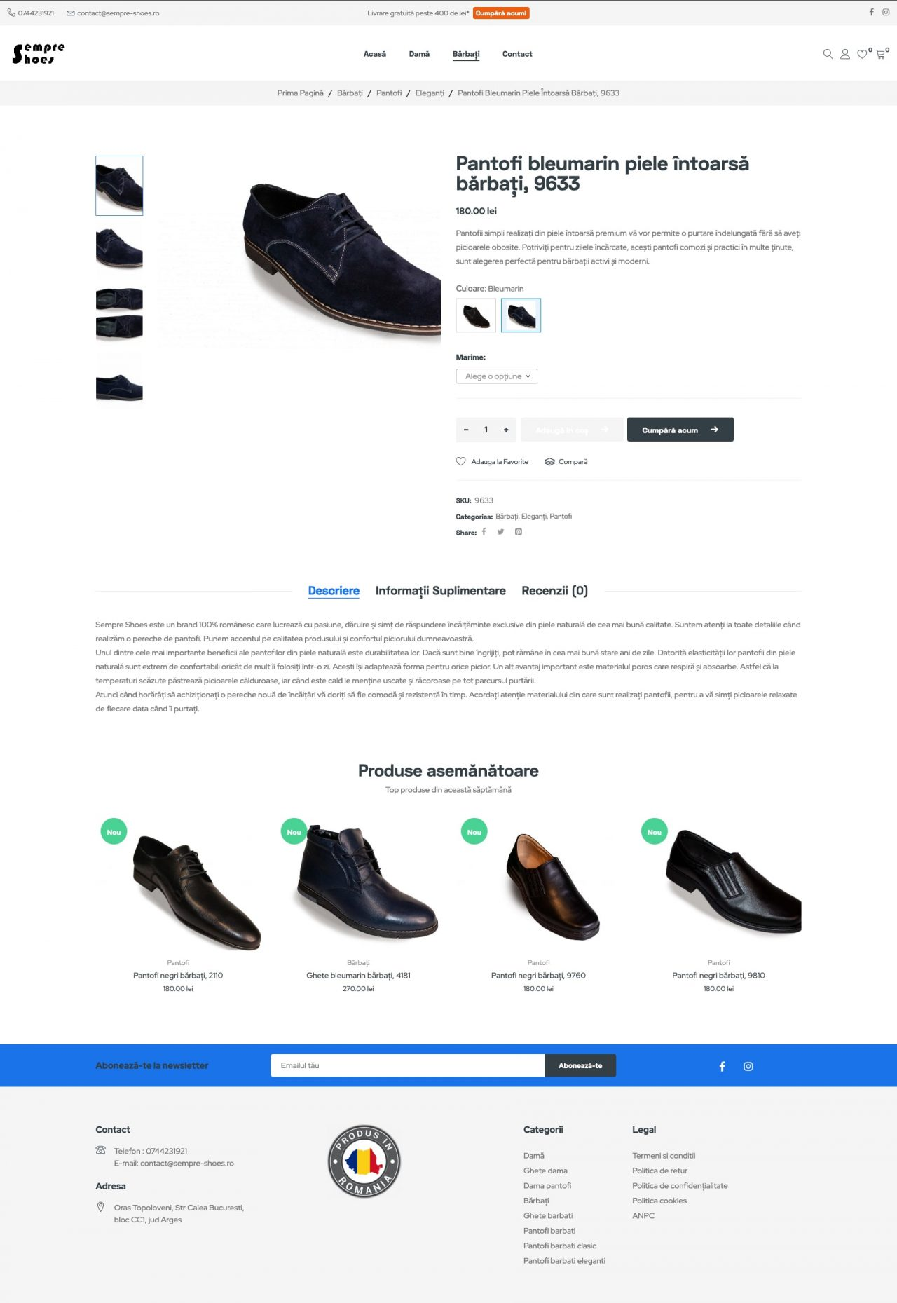 magazin online de pantofi pagina produs
